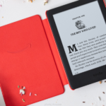 Kindle Kids edition with a red case/cover.