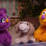 Still from Ahlan Simsim (Welcome Sesame) showing new muppet, Jad.