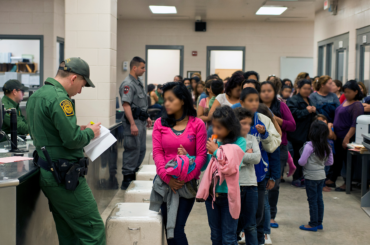 Processing unaccompanied children in a facility.