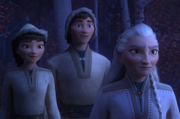 Some characters from the movie frozen in traditional indigenous clothing.