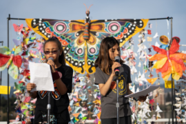 Youth activists for The Butterfly Effect speaking at a DC rally.