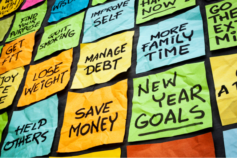 PostIt notes with new year's resolutions.