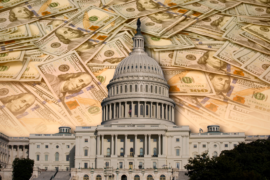 Illustration of the White house superimposed on a background of hundred dollar bills.