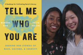 Tell Me Who You Are book cover image and a photo of Priya Vulchi and Winona Guo