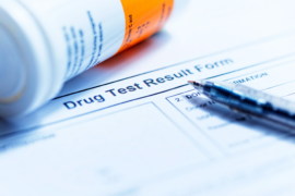Drug test results form.