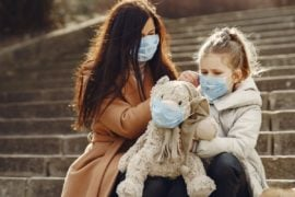 Mother and daughter wearing face masks.