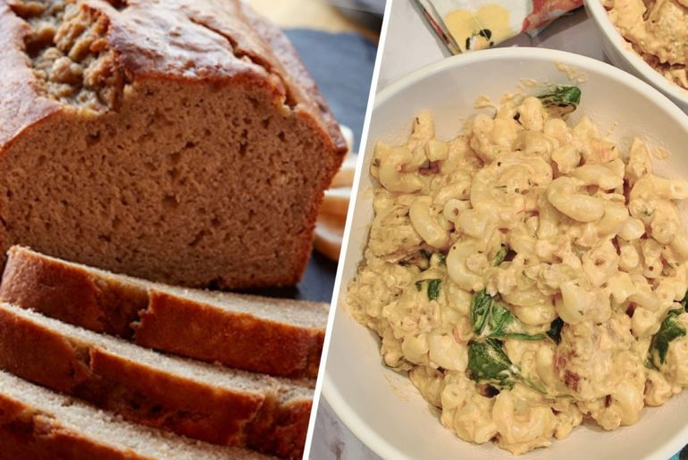 Side by side image of a loaf of bread and a bowl of mac and cheese.