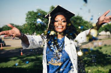 Graduate celebrating.