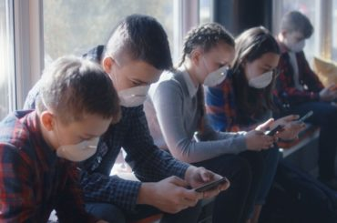 Students wearing masks at school.