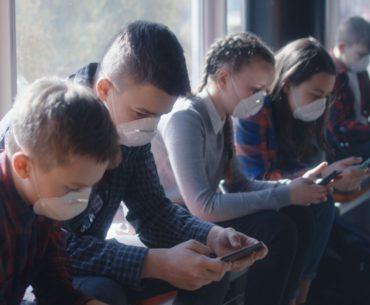 Students wearing masks at school.