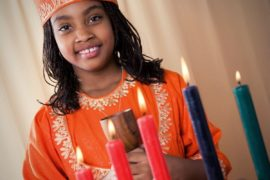 Girl celebrating Kwanzaa.