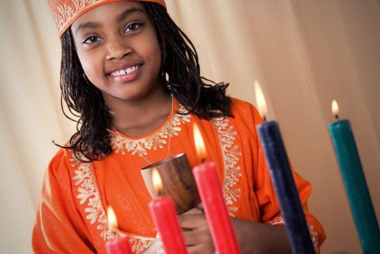 Girl celebrating Kwanzaa.