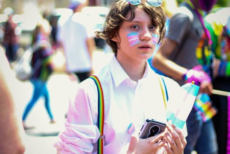 A transgender teen celebrating pride day.