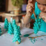 Girl making DIY gift.