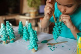 Girl making DIY gift.