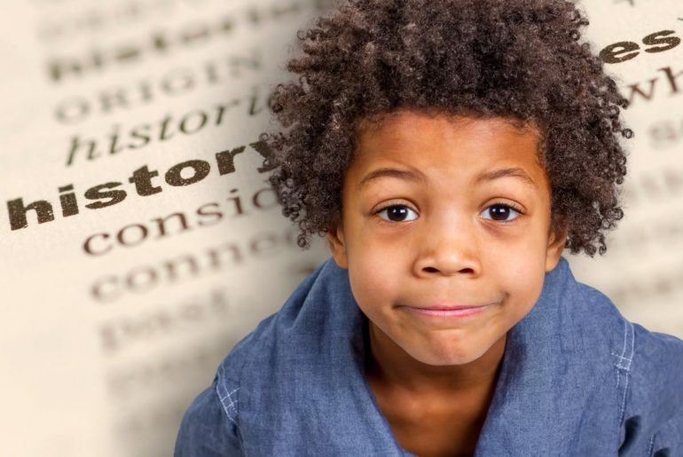 Photo illustration of a smiling child superimposed over an image of an open book.