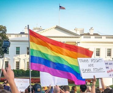 Trans and LGBTQ rights protesters in Washington, DC.