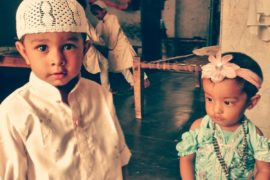 Muslim children during Ramadan celebration.
