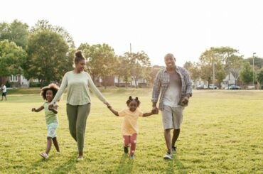 Family enjoying time outdoors.