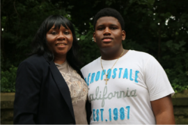 Lafleur Duncan poses with her 13-year-old son, Jordan Duncan