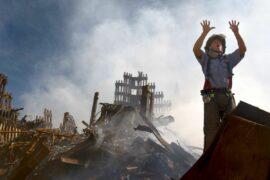 Fireman in 9/11 rubble.