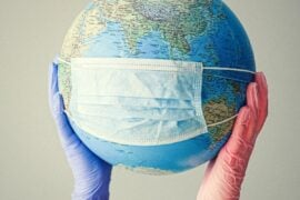 Globe with surgical mask.